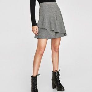 ZARA Double layer grey marled skirt